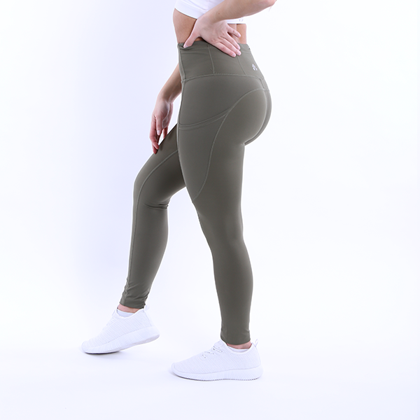Side View The Flex Leggings Navy Green colour