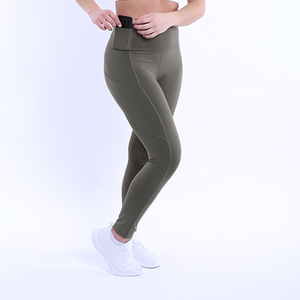 Front Side View The Flex Leggings Navy Green colour
