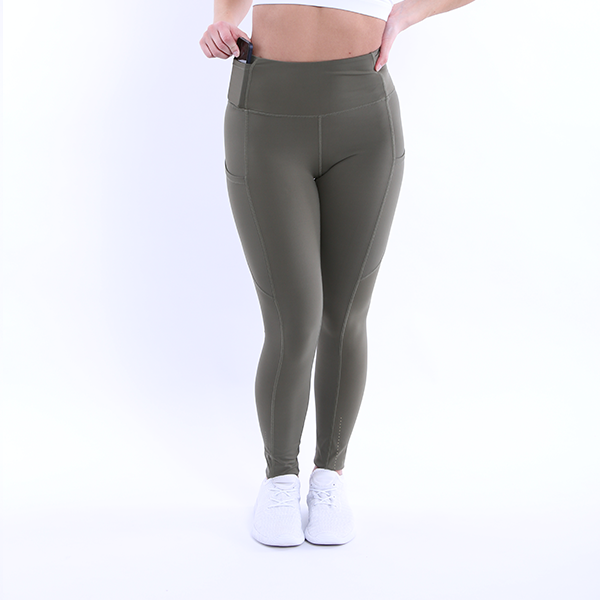 Front Full View The Flex Leggings Navy Green colour