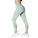 Size view FAYE leggings Mint colour fashionable high-rise leggings with soft compression Cool & Dry material.