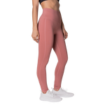 Right side view FAYE leggings Peach colour fashionable high-rise leggings with soft compression Cool & Dry material.