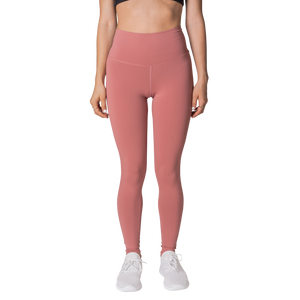 Front view FAYE leggings Peach colour fashionable high-rise leggings with soft compression Cool & Dry material.