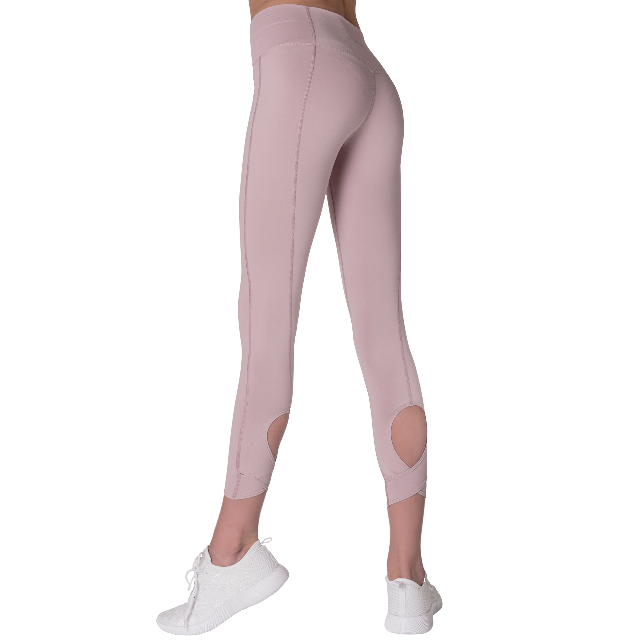 Back Side view FAYE leggings Purple colour fashionable high-rise leggings with soft compression Cool & Dry material.