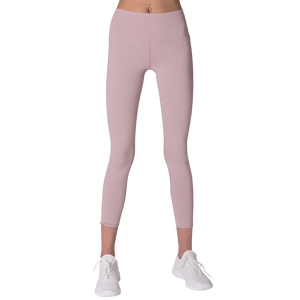 Front view FAYE leggings Purple colour fashionable high-rise leggings with soft compression Cool & Dry material