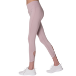 Side view FAYE leggings Purple colour fashionable high-rise leggings with soft compression Cool & Dry material.