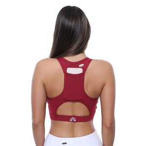 Back Side View PSYKIE Red Pocket Sports Bra long line sports bra, with built-in phone holder at the back.