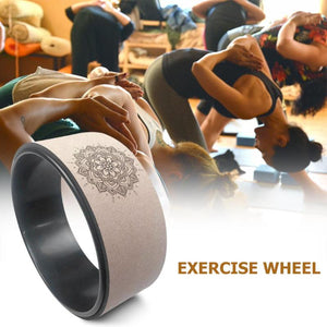 Cork Yoga Wheel Pilates with Buddha Lotus Professional TPE Back Workout Training Tool - FEM Athletica