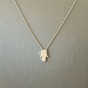 Small Pave Hamsa Necklace