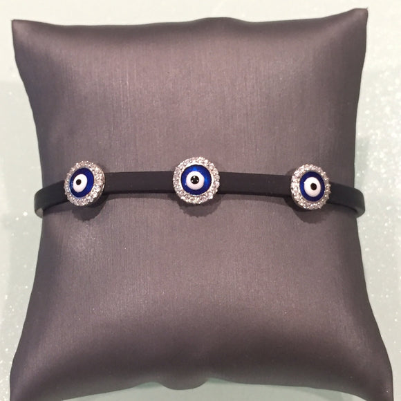 Round Leather Evil Eye Bracelet