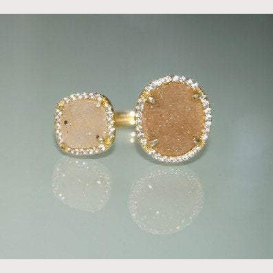 Double Champagne Druzy Ring