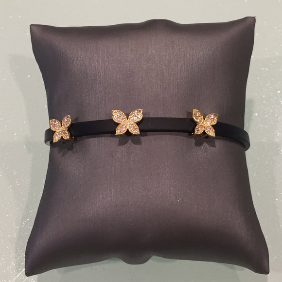 Leather Butterfly Bracelet- Gold