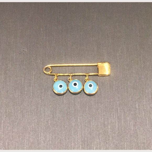 Gold Evil Eye Safety Pin