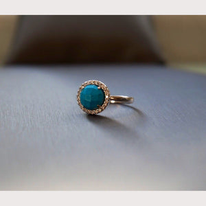 Silver Round Turquoise Ring