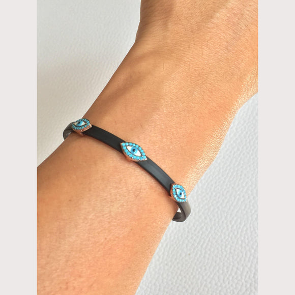 Leather Turquoise Evil Eye Bracelet