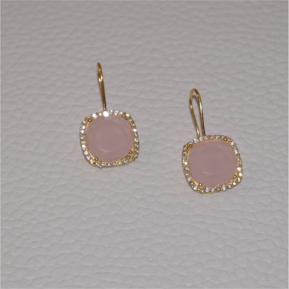 Pink Quartz Gemstone Earrings