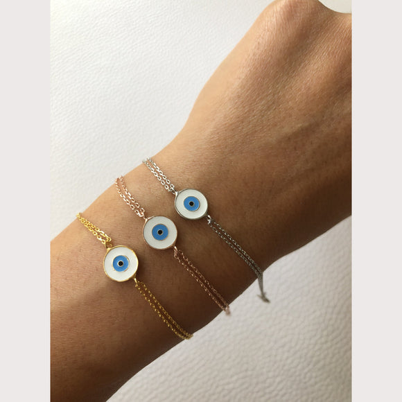 White Enamel Eye Bracelet