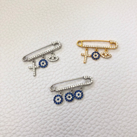 Large CZ Evil Eye Pins