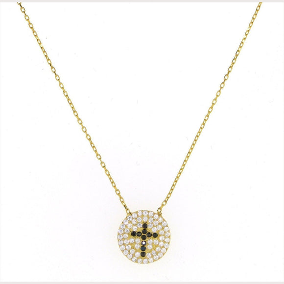 Pave Disc Cross Necklace