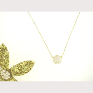 Small Pave Filigree Disc Necklace-Gold