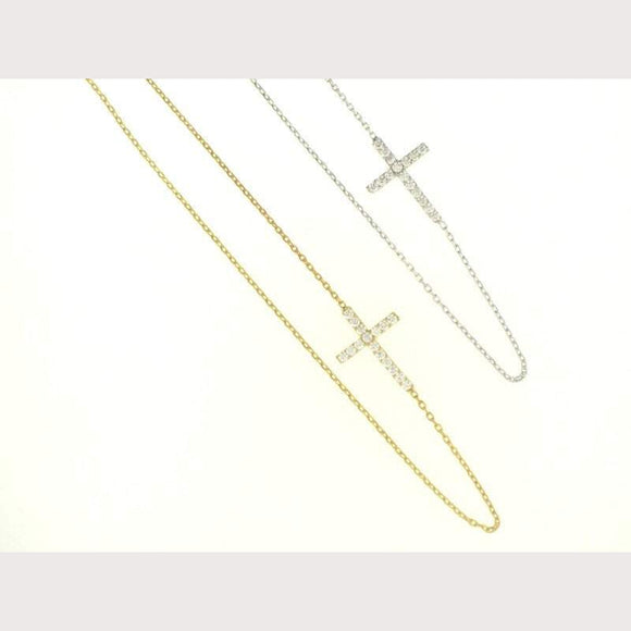 Small Sideway Cross Necklace