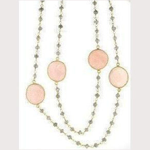 Pink Quartz Bead Necklace