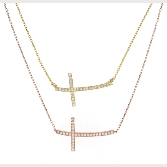 Curved Sideway Cross Necklace