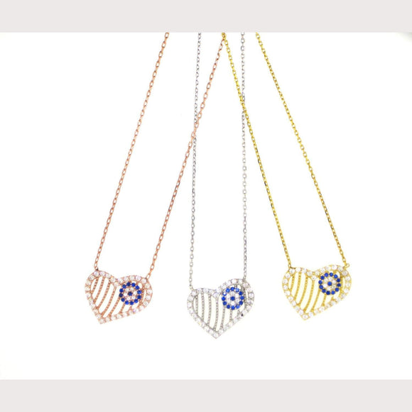 Evil Eye Heart Necklace