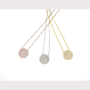 Medium Pave Disc Necklace
