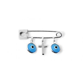 Blue Evil Eye Cross Safety Pin