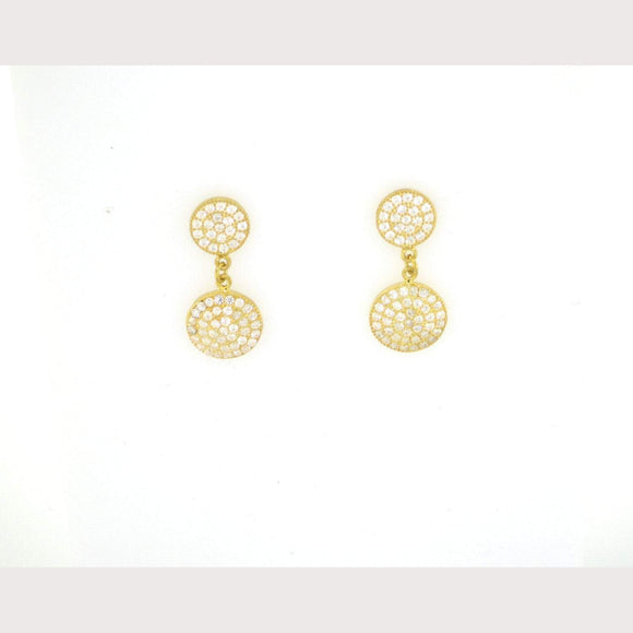 Double Disc Earrings-Yellow Gold