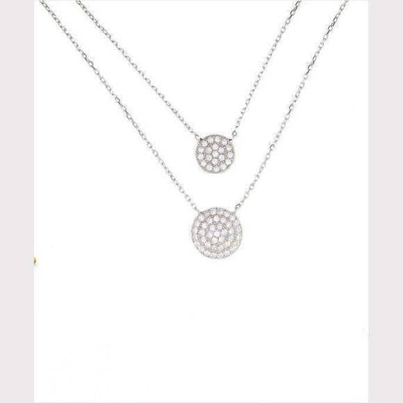 Double Disc Necklace-Silver