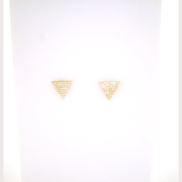 Triangle Stud Earrings-Yellow Gold