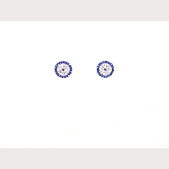 Evil Eye Stud Earrings-Silver
