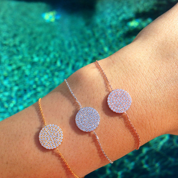 Medium Pave Disc Bracelet