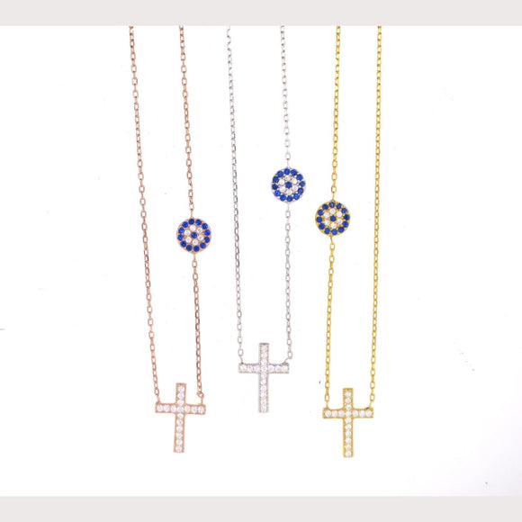 Dainty Evil Eye Cross Necklace