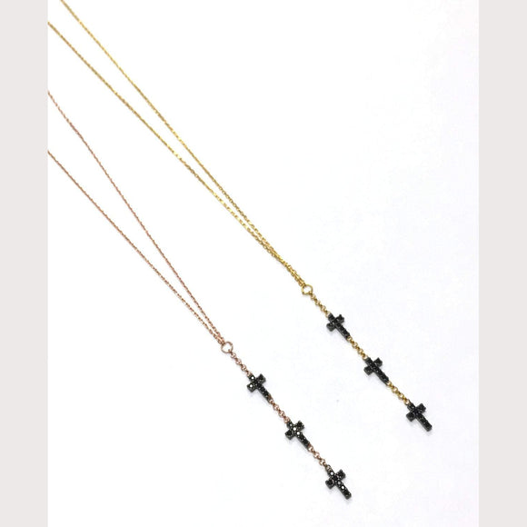 Black Stone Faith Lariat Necklace-Gold