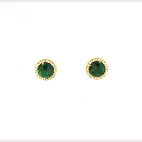 Emerald Stud Earrings-Gold