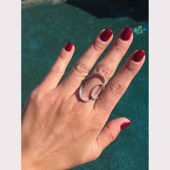 Double Swirl Pave Ring