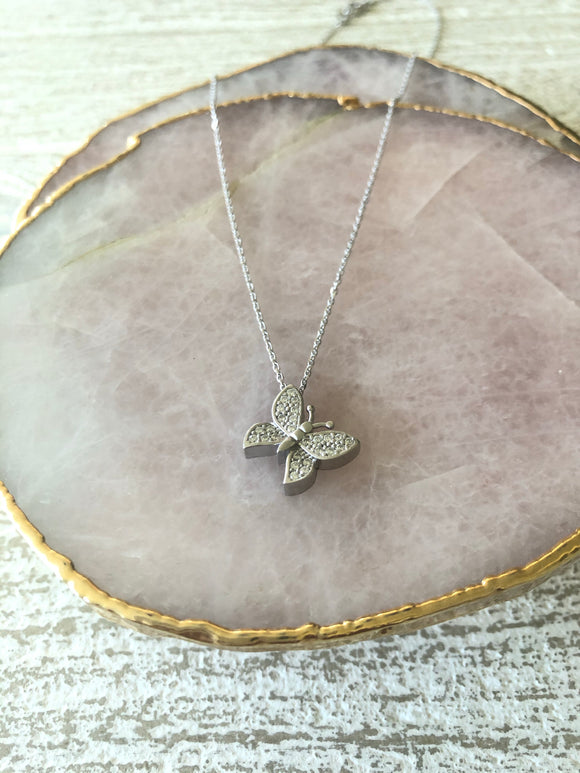Pave Butterfly Necklace