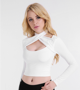 Ladies Long-sleeved Chest Cross-neck Top