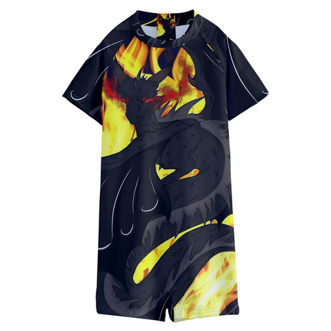"Dragon Torrick - ""Flame"" - Kids' Boyleg Half Suit Swimwear"