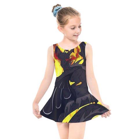 "Dragon Torrick - ""Flame"" - Kids' Skater Dress Swimsuit"