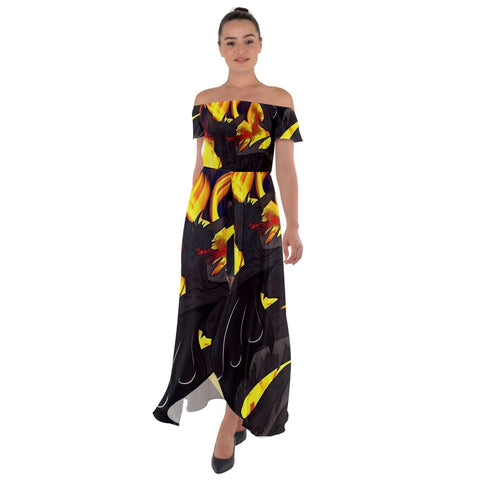 "Dragon Torrick - ""Flame"" - Off Shoulder Open Front Chiffon Dress"