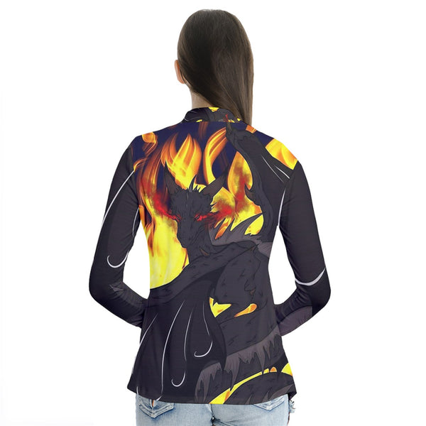 "Dragon Torrick - ""Flame"" - Drape Collar Cardigan"