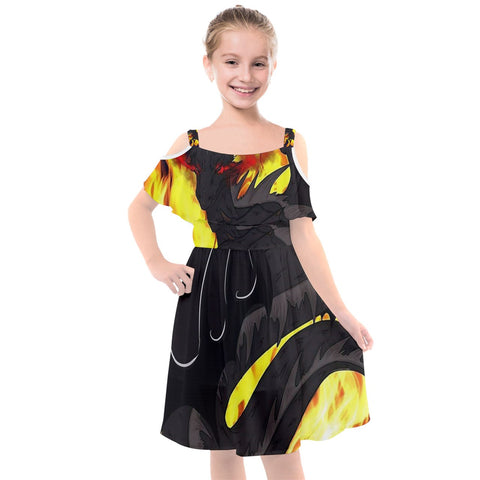"Dragon Torrick - ""Flame"" - Kids' Cut Out Shoulders Chiffon Dress"