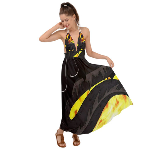 "Dragon Torrick - ""Flame"" - Backless Maxi Beach Dress"