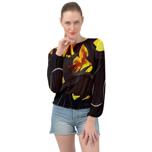 "Dragon Torrick - ""Flame"" - Ladies Banded Bottom Chiffon Top"