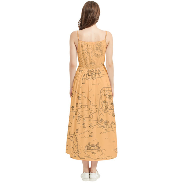 TCoE - Trindavin Map 'parchment' - Boho Sleeveless Summer Dress