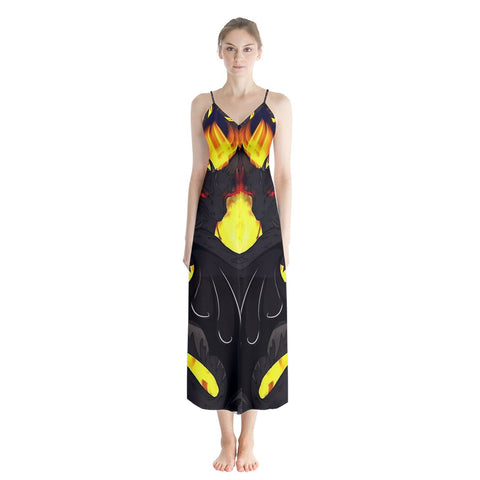 "Dragon Torrick - ""Flame"" - Button Up Chiffon Maxi Dress"