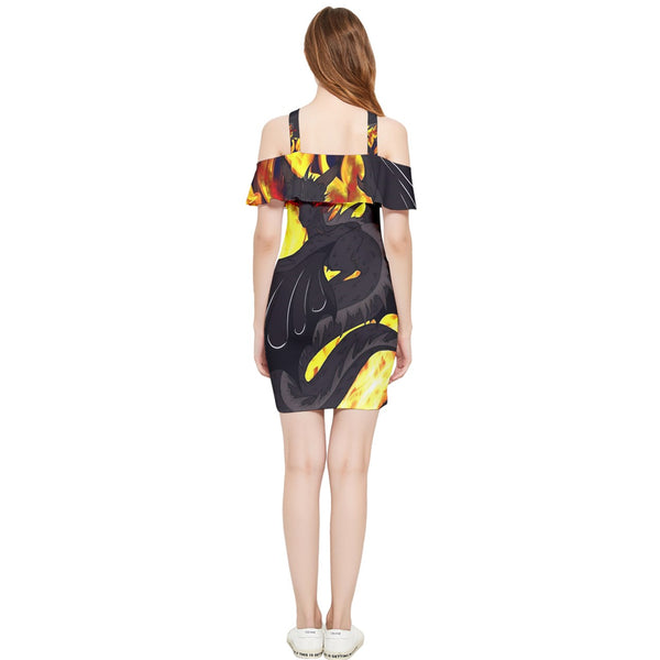 "Dragon Torrick - ""Flame"" - Shoulder Frill Bodycon Summer Dress"